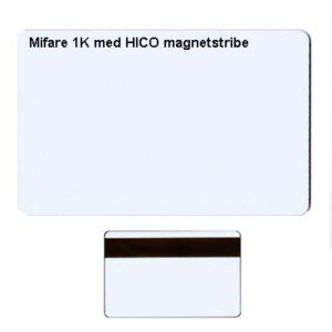 Mifare 1k kort med HICO magnetstribe
